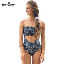 Hotapei New 2019 Sexy One Piece Swimsuit Blue Smocked Monokini Bodysuit Women Bathing Suit Summer Swimming Beach Wear LC411558