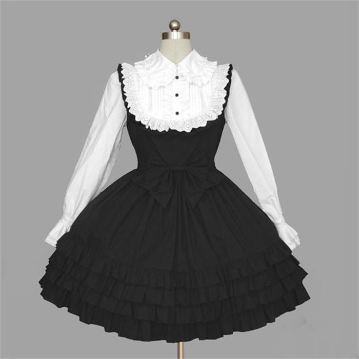 Black White Lovely School Princess Lolita Dress Girl & Women Sweet Kawaii Long Sleeve One-piece Royal Sailor Dress Clothing