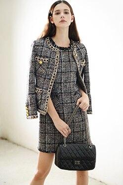 HTB1Ks9INXXXXXXJaXXXq6xXFXXXr - Luxury Brand Women's Tweed Sleeveless Plaid Dress 2018 Winter or Spring Elegant Round Neck Slim A-Line Based Dress