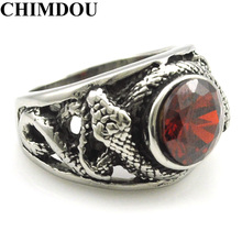 CHIMDOU Hot Selling Men Stainless Steel Ring  Double Cross Snake Red Crystal Jewelry 2017 New Arrival  AR534