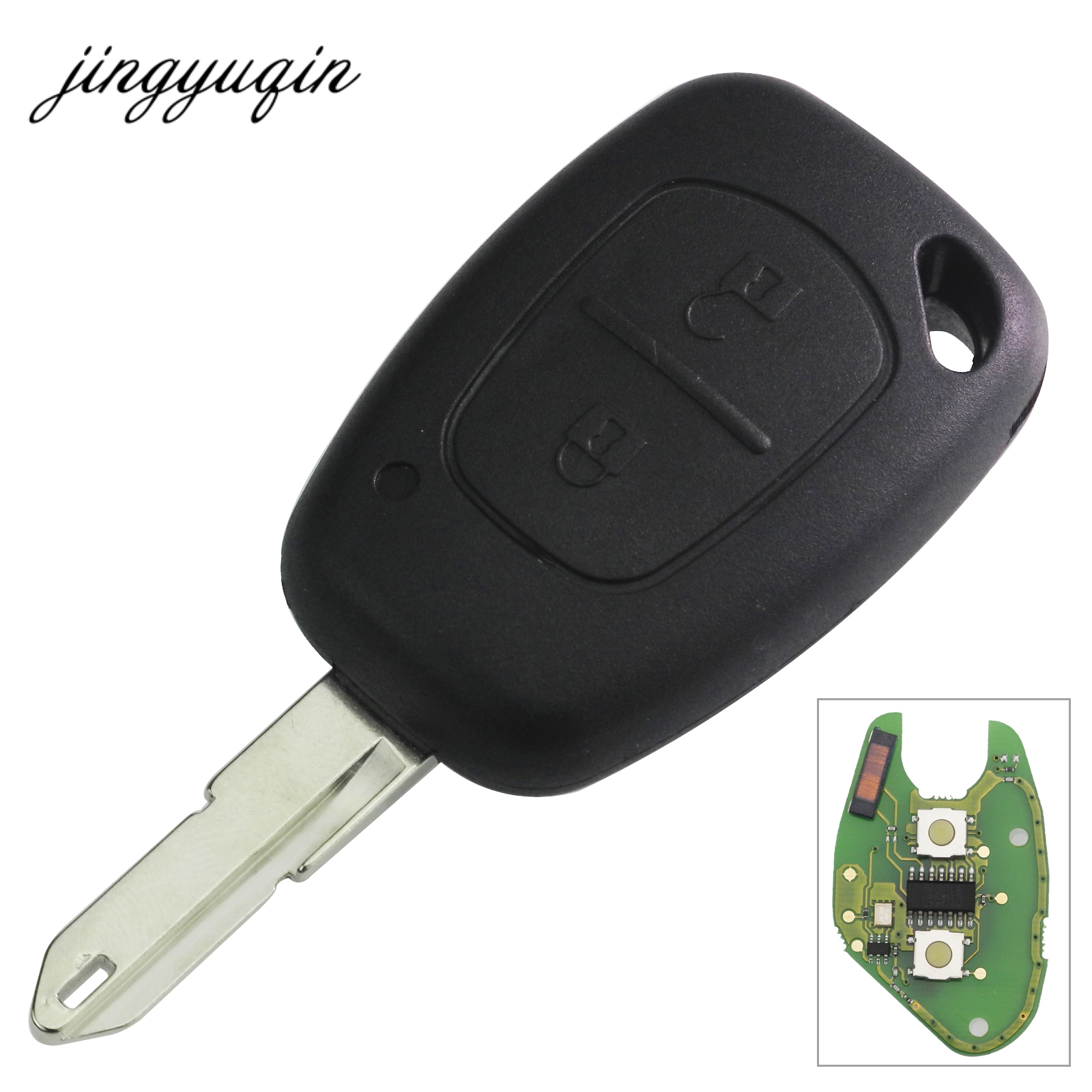 Jingyuqin 2 Taste Auto Komplette Fern Schlüssel + ID46 Chip Transmister für Renault Traffic Master Vivaro Movano Kangoo Ne73 Klinge