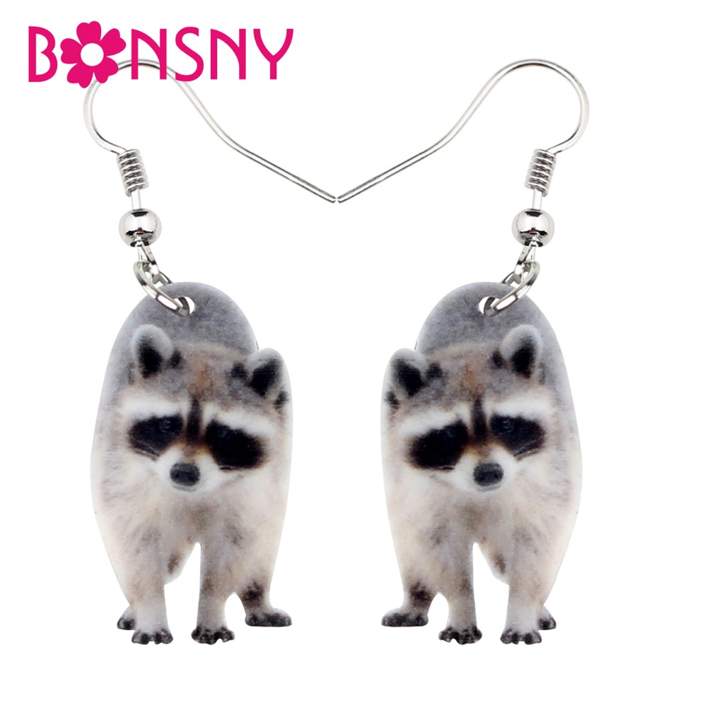 Bonsny Acrylic Sweet Raccoon Ringtail Earrings Drop Dangle Cute Wild Animal Jewelry For Women Girls Teens Gift Charms Wholesale