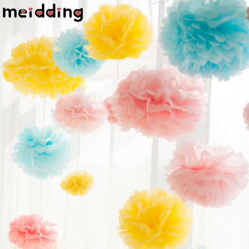 MEIDDING 5pcs 20cm Romatic Paper Pom Poms Flower Balls Wedding Party  Paper Pompoms Wedding Birthday Party Decor Craft Flowers
