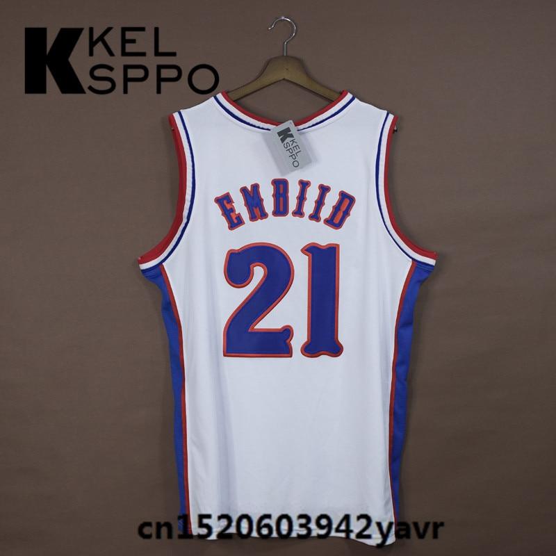 55eee0591 ... Custom Adult Throwback Basketball Jerseys 21 JOEL EMBIID Kansas Jayhawks  Embroidered Basketball Jersey Size XXS ...