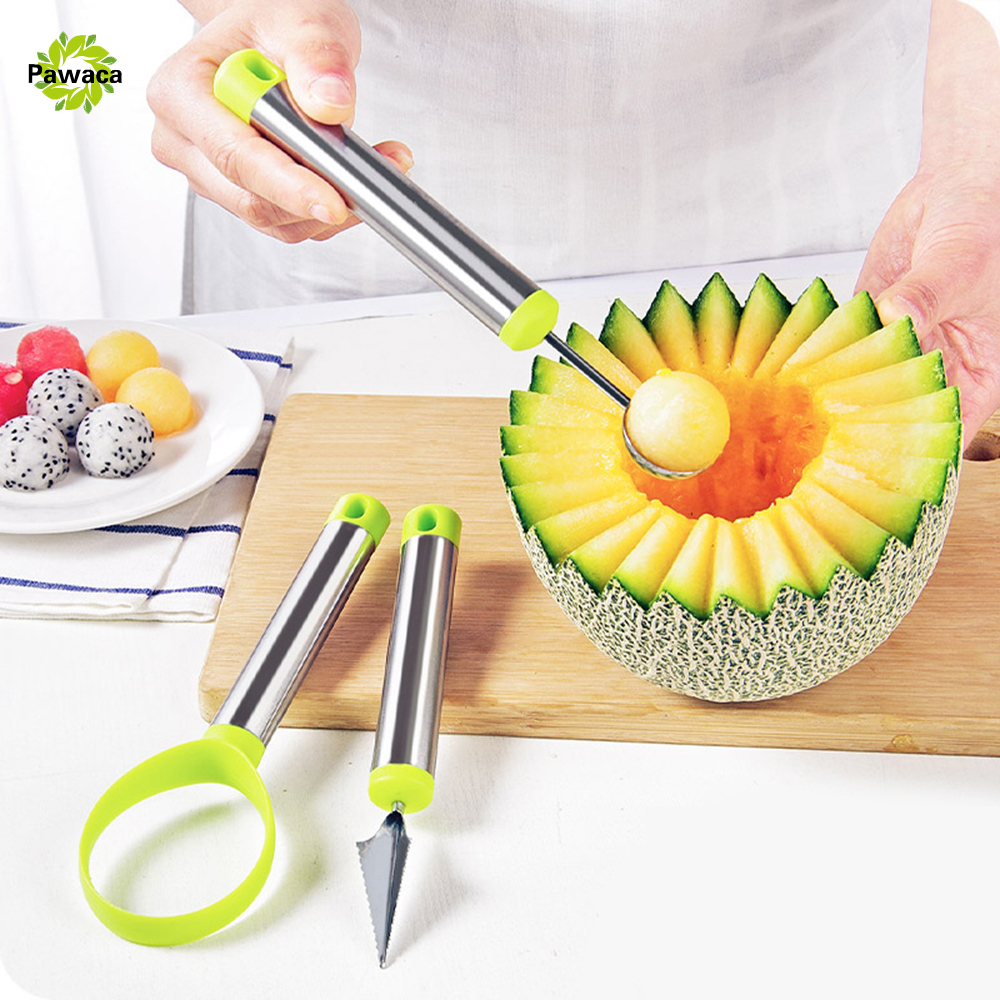 Creative Fruit Carving Knife Watermelon Baller Ice Cream Dig Ball Fruit Scoop Spoon Diy Assorted Cold Dishes Tool 3pcs/set