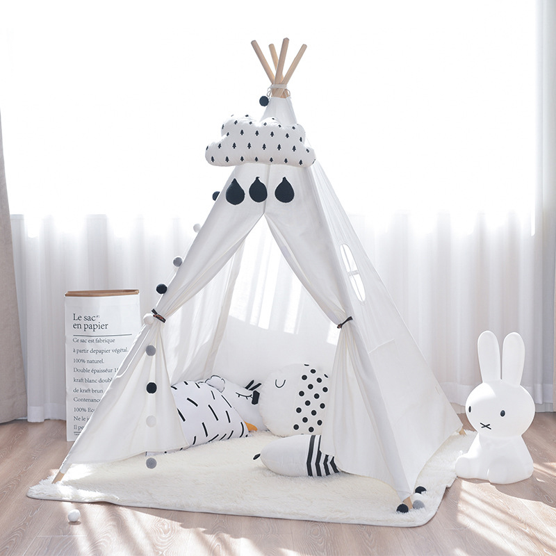 Four Poles Kids Play Tent Cotton Canvas Teepee Children Toy Tent White Pink Blue Playhouse for Baby Room