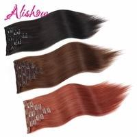 Alishow волосы дважды обращается шелковистая прямая Клип В Волосы remy расширения 160 г 8 шт./компл. 100% человеческих волос в клипах UPS бесплатная дос