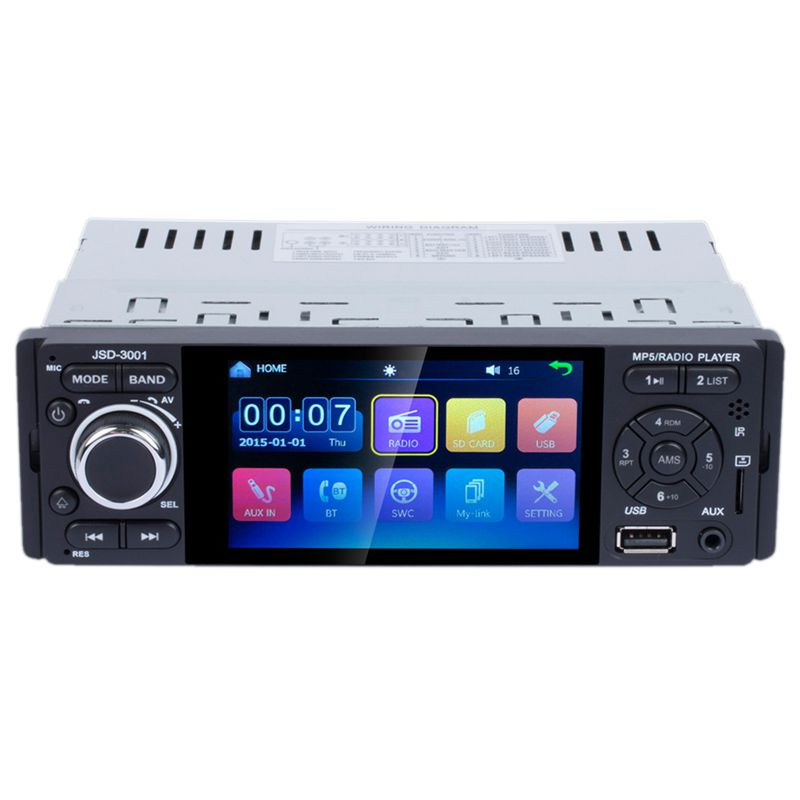 Touch Bluetooth Car Radio 1 Din Mirror Link Stereo Audio Mp5 Video Player Usb Mp3 Tf Iso Head Unit Jsd-3001 image