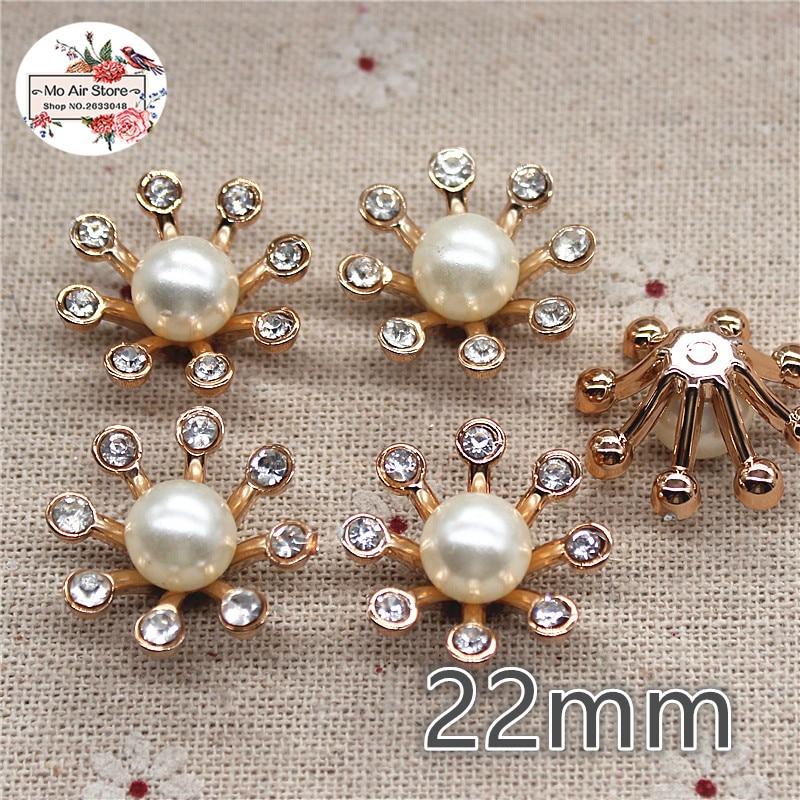 71dc8ac80c 10pcs/set Flower Rhinestones Buttons Pearl button wedding decoration ...
