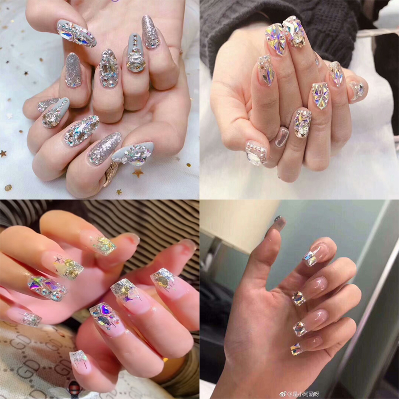 Crystal AB Nail art decorations mixed sizes Flat back Glass Geometry stones nail art in box rhinestone Jewelry accessories in Rhinestones Decorations from Beauty Health