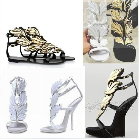 ФОТО Impressive Gold Leaf High Heel Sandals Hot Selling Women thin buckle strap dress pumps white black several colors available