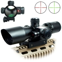 Discount! 2.5-10×40 E/R Tactical Rifle Scope With Red Laser & Mount / Airsoft Mil-dot Dual Illuminated Riflescope Telescopic Sight + Laser