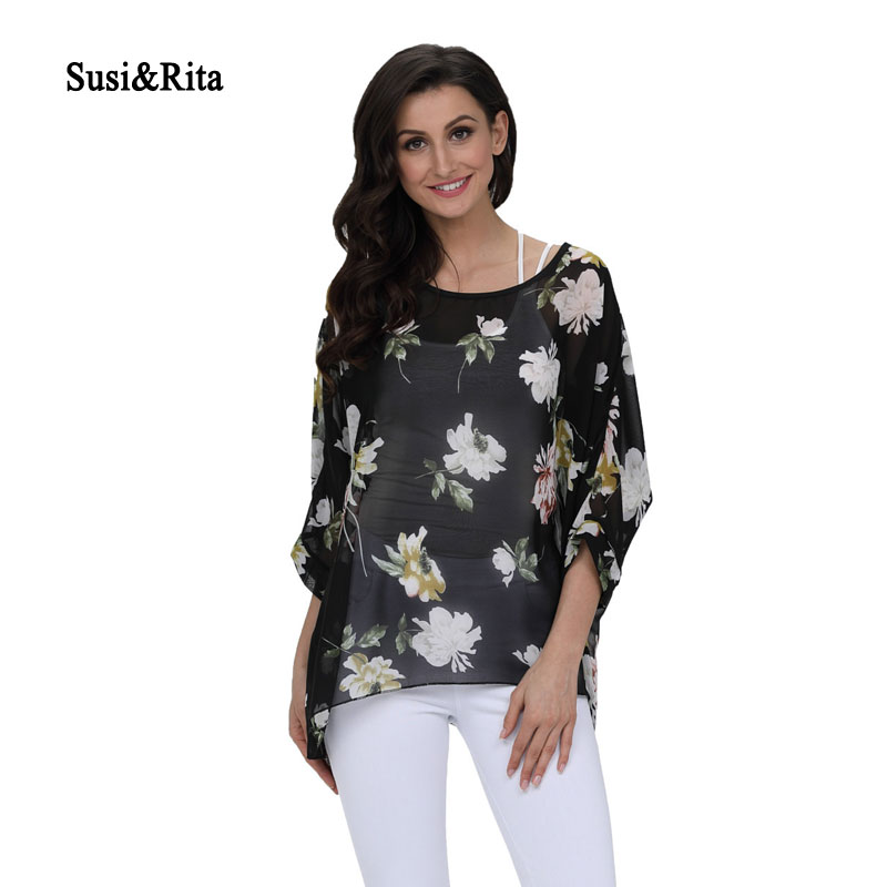 Susi&Rita 2018 Plus Size Womens Tops And Blouses Floral Print Beach Tops Summer Casual Shirt Blouse Femme Blusa Feminina