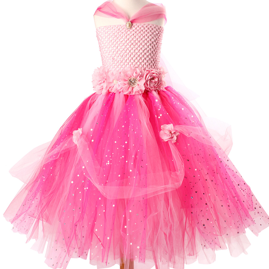 Beautiful Princess Tutu Gown for Weddings Birthday Dress Baby Girl Flower Tutu Dress Glittery Children Fancy Party Christmas Costumes (5)