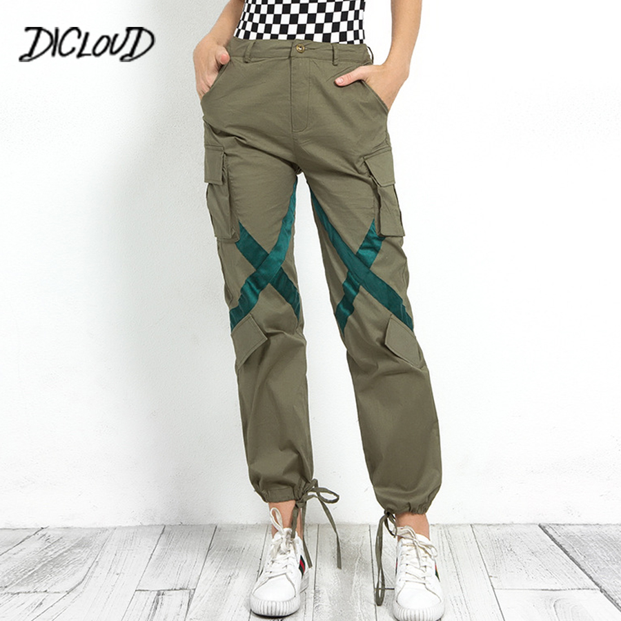 DICLOUD Streetwear Spliced Cargo Pants Woman 2018 Fashion High Waist Casual Trousers Army Green Pockets Boyfriend Pants Capris
