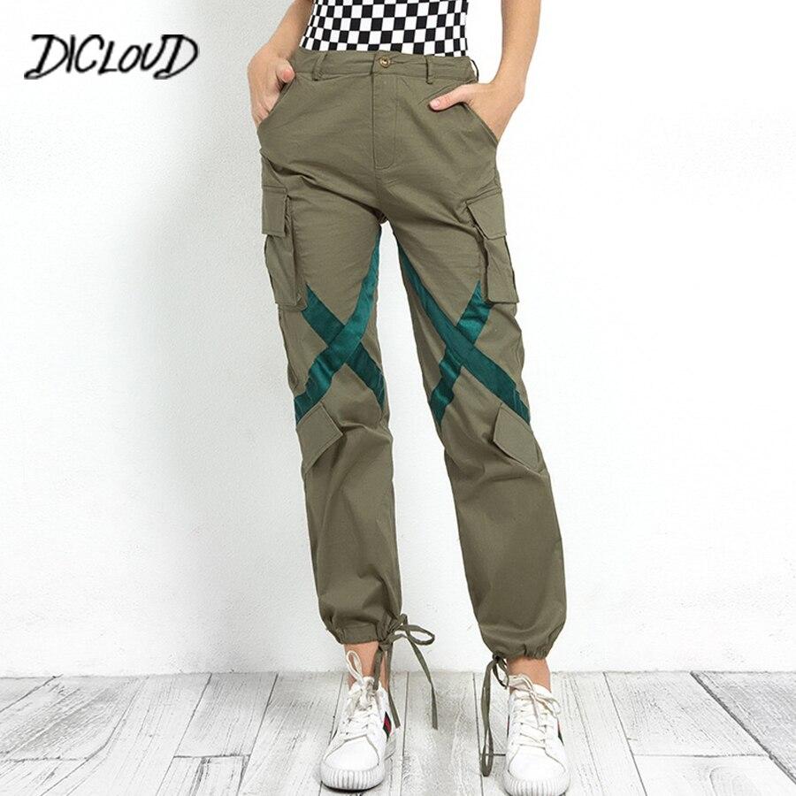 DICLOUD Streetwear Spliced Cargo Pants Woman 2018 Fashion High Waist Casual Trousers Army Green Pockets Boyfriend Pants Capris