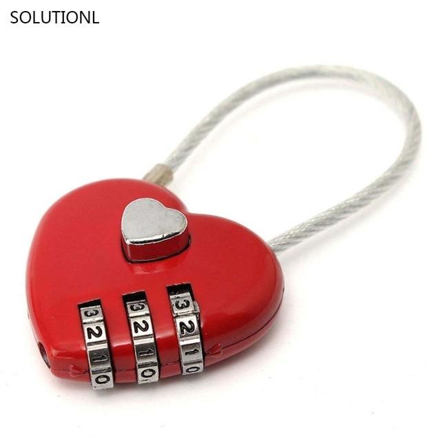 Hot Sale Love Password Lock Wire Rope Lock Travel Bags Three Bit ...