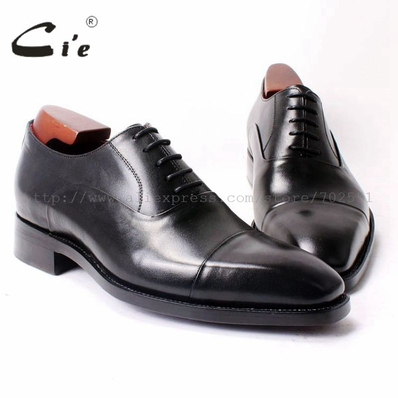 cie Square Cap Plain Toe Lace-Up Oxfords Black 100%Genuine Men Leather Shoe Bespoke Men Shoe Handmade Dress Shoe Goodyear OX322 cie square toe plain handmade men s lacing derby 100