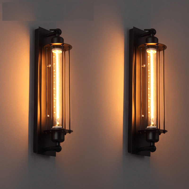 Modern industrial style design black iron cage wall lamp American Loft Home Decoration Long  Black Wall Sconce Lighting
