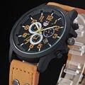 Творческий 2016 Старинные Классические Часы Мужчины Повседневная Жизнь Водонепроницаемый Ремень Спорт Армия Кварцевые часы Повседневная Шарм Смотреть 4 цветов
