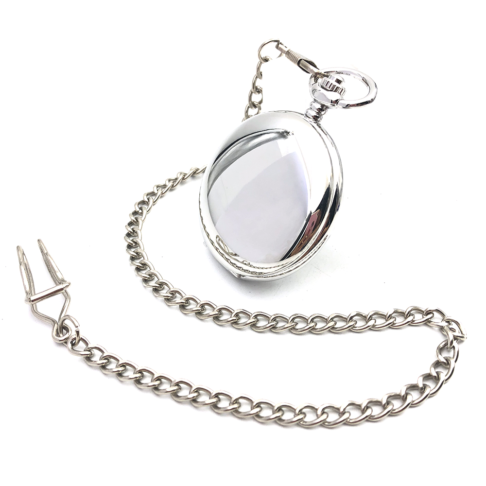 CAIFU Brand Smooth Silver Tone Case Roman Number White Dial Hand Wind Mens Mechanical Pocket Watch W/Chain Full Hunter Watch