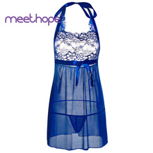 Meethope sexy underwear perspective deep V-neck hanging neck doll dress pajamas thong set