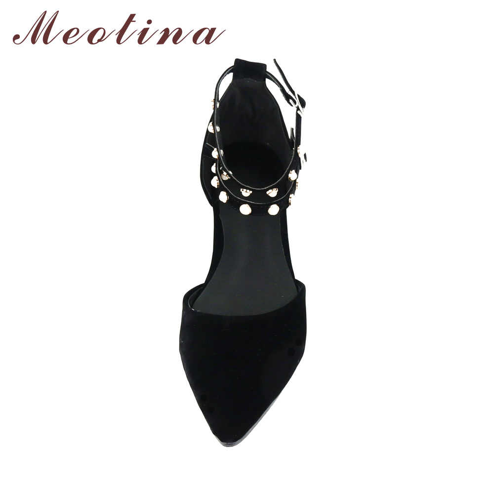 52e0b74aff7d ... Meotina Women Flat Shoes Ankle Strap Flats Pointed Toe Autumn Shoes Two  Piece Ladies Flats Beading ...