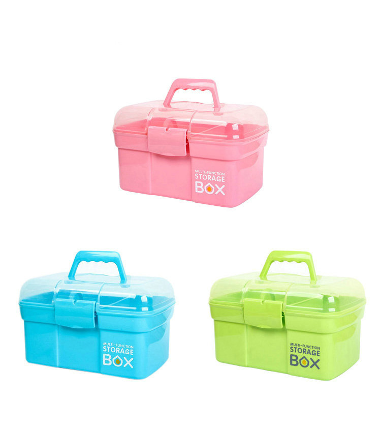 3 color multilayer plastic household portable medicine cabinet children's medicine storage box small medical box first aid kit laoa colorful folded tool box work box foldable toolbox medicine cabinet manicure kit workbin for storage