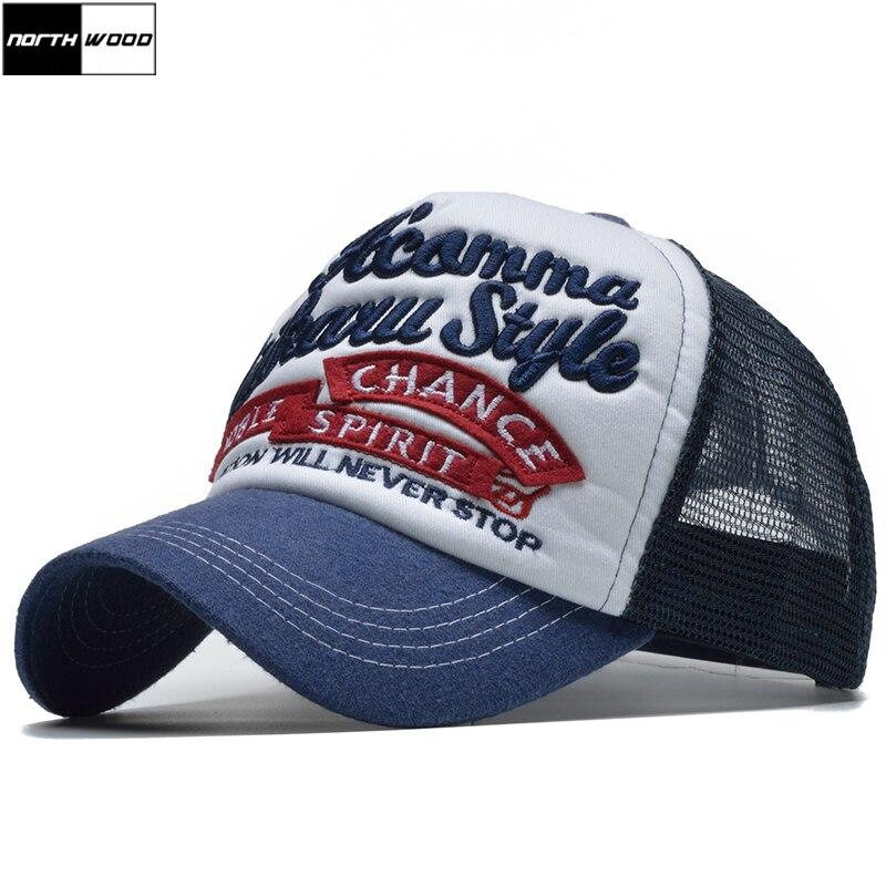 NORTHWOOD  2018 Fashion Mesh Summer Cap Sun Baseball Cap Men Women Dad Hat  Gorra d50fd2121c1f