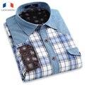 Langmeng 2016 new  men casual long sleeve warm shirt  velvet winter men plaid jeans flannel dress shirt unique design men dress