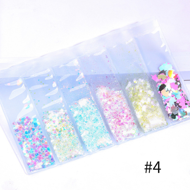 6 Patterns/Bag Holographic Nail Glitter Sequins Powder Mixed Size Nail Pigment Dust Colorful Flakes 3D Nail Art Decoration DIY