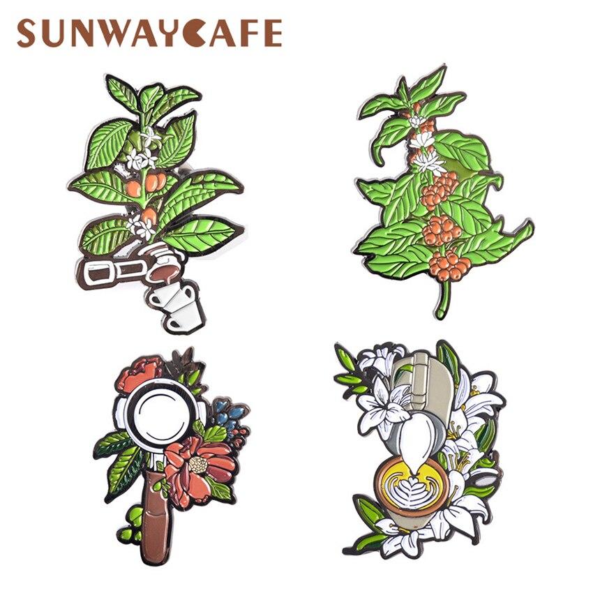 Barista Brooch Retro Coffee Machine Handle Coffee Cup Leaf Flower Badge Birthday Creative Gift Metal Drip Broochs Accessories