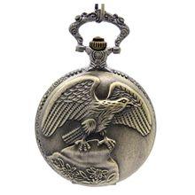 Bronze Steampunk Vintage Eagle Unisex Quartz Chain Pocket Watch