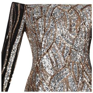 Image 4 - Женское вечернее платье с блестками Angel fashions, золотистое платье с открытыми плечами, длинными рукавами, Модель 404 456