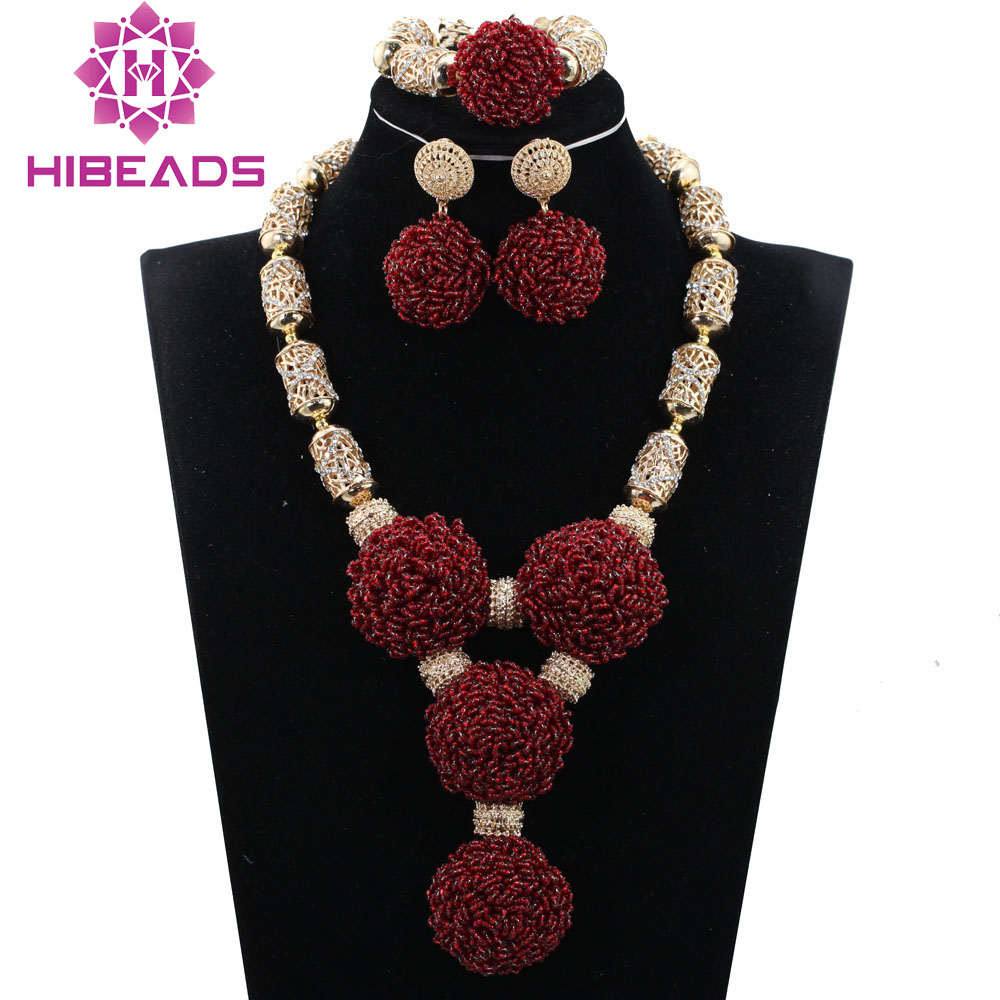 Luxury Wine Burgundy Dubai Bridal Women Jewelry Set Burgundy Beaded African Costume Jewelry Set for Nigerian Wedding WE024
