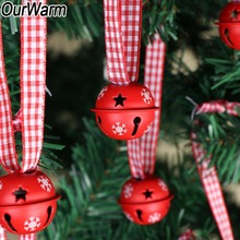 OurWarm 20pcs Red Snowflower Christmas Jingle Bells  Xams Tree Decor Holiday Ornament Hanging Pendant Drop Party
