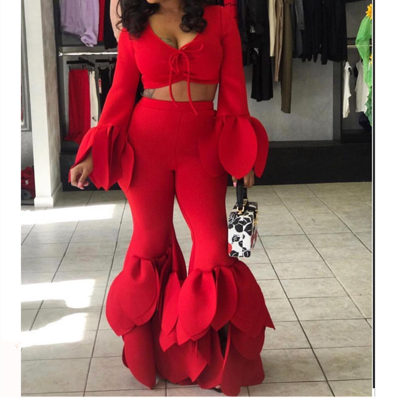 2 Piece Sets Crop Tops Pants Women Sexy Red Tops Long Sleeves Ruffles Club Night Party