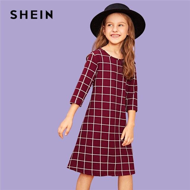 SHEIN Kiddie/бургундское клетчатое Повседневное платье трапециевидной формы для маленьких девочек одежда для детей 2019 г. летние детские платья до колена с короткими рукавами