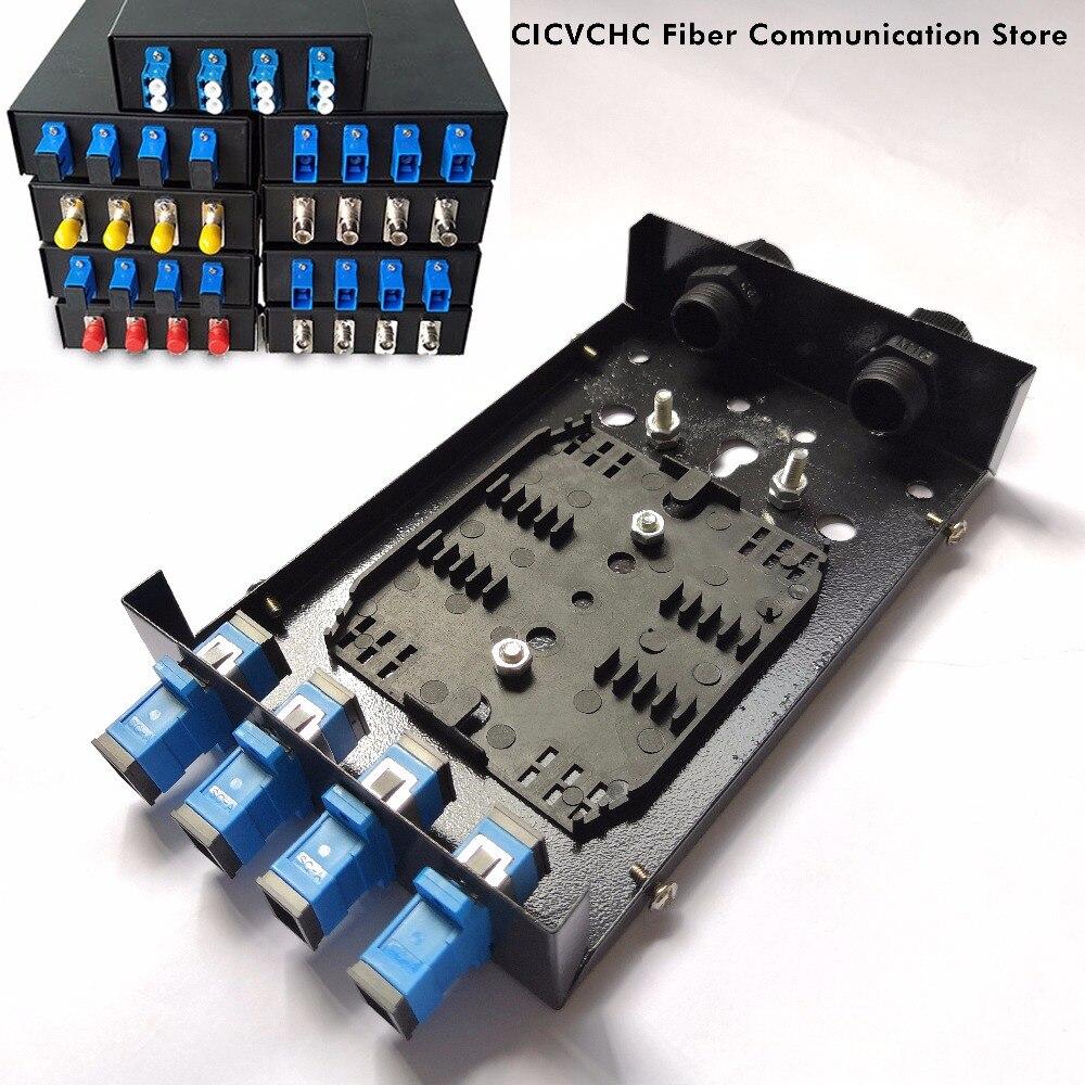 10 pcs FTTH Boîte à Bornes avec 4 Port SC, FC, S ou Duplex LC Adaptateur et deux Presse-Étoupe pour 3.5 à 8.5mm câble