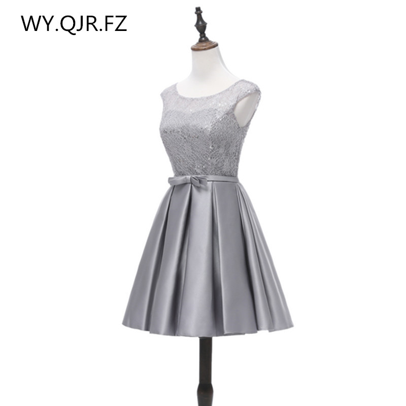 YRPX-ZP#Lace up new short   bridesmaid     dresses   plus size summer gray wedding party prom   dress   cheap wholesale Custom fashion girl