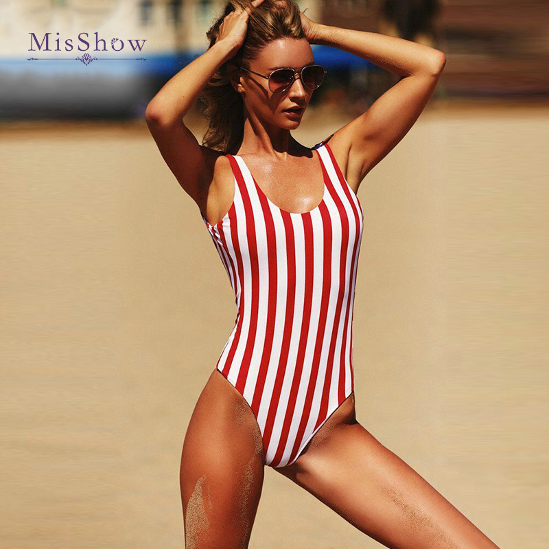 Vintage High Leg Swimsuit Red Striped One Piece Swimsuit Female Push Up Swimwear Women Lengthen the Body Classical Bodysuit