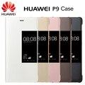 Оригинал Huawei P9 PU Кожа Ткань Телефон Случаях Смарт Вид из Окна Флип Чехол для Мобильного Телефона Huawei P9 Серый/Белый/Золото/розовый/Коричневый