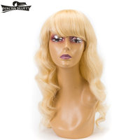 DANCING BEAUTY Pre Colored Blonde Human Hair Wigs Non Lace Brazilian Wavy Hair #613 Color Wig With Bangs Non Remy 22Inch