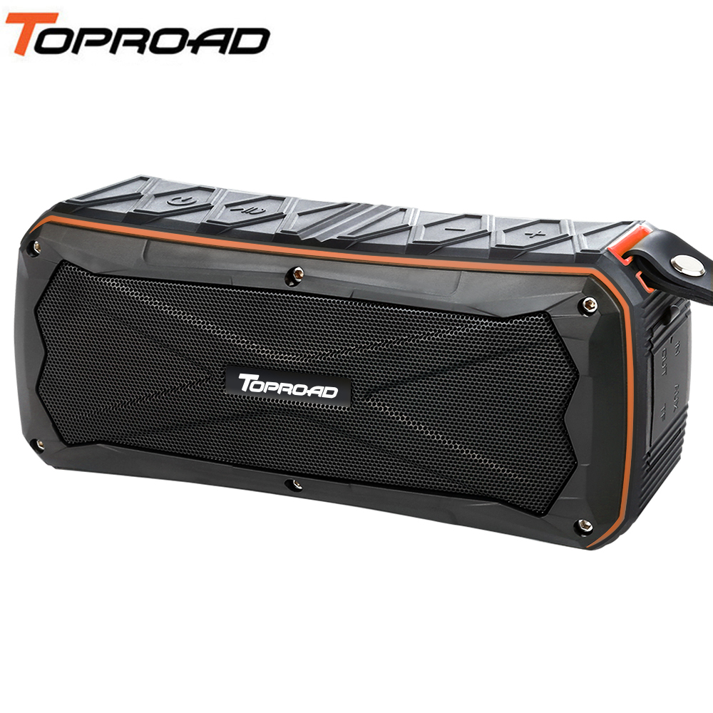 TOPROAD Stereo Wireless Bluetooth Speaker 16W Waterproof IP66 Portable Power Bank 4500mah Music Speakers With Mic Support TF AUX