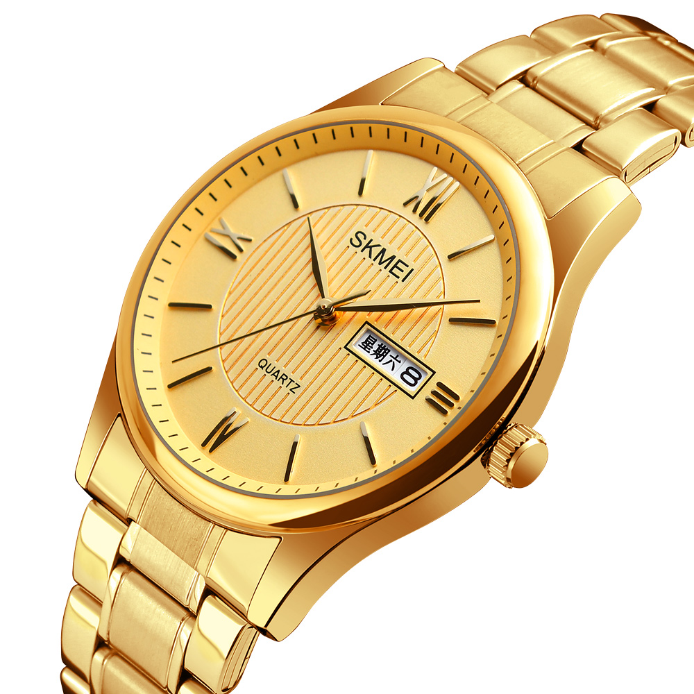 Skmei Top Brand Luxury Gold Steel Men's Quartz Wristwatch Fashion Casual Dress Business Sport Watch Men Clock Relogio Masculino цена