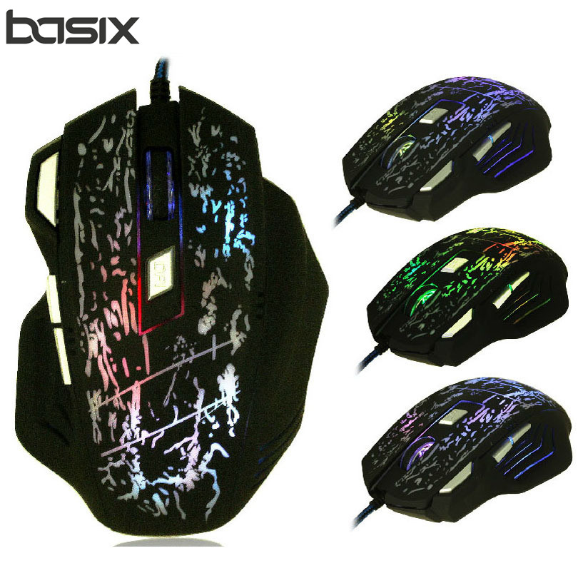 BASIX Professionell Wired Gaming Mouse 5500DPI Justerbar 7 Knappar Kabel USB Optisk Spelare Mus Möss För PC Datorn Laptop