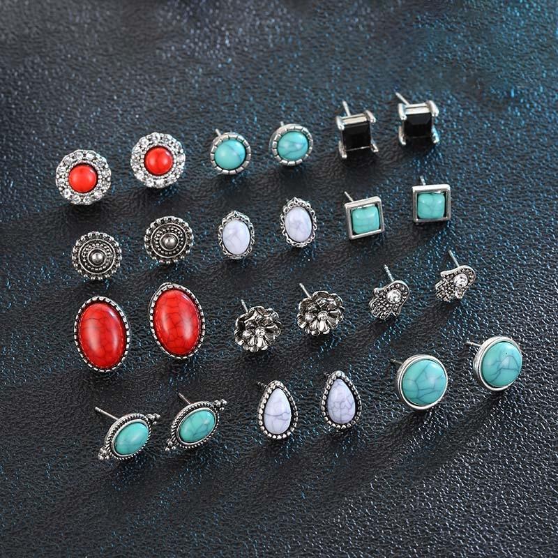 Vanmos Fashion Elegant Crystal Stud Earrings Set for Women Bohemian Vintage Earrings Mixed Color Statement Ear Jewelry Gift in Stud Earrings from Jewelry Accessories