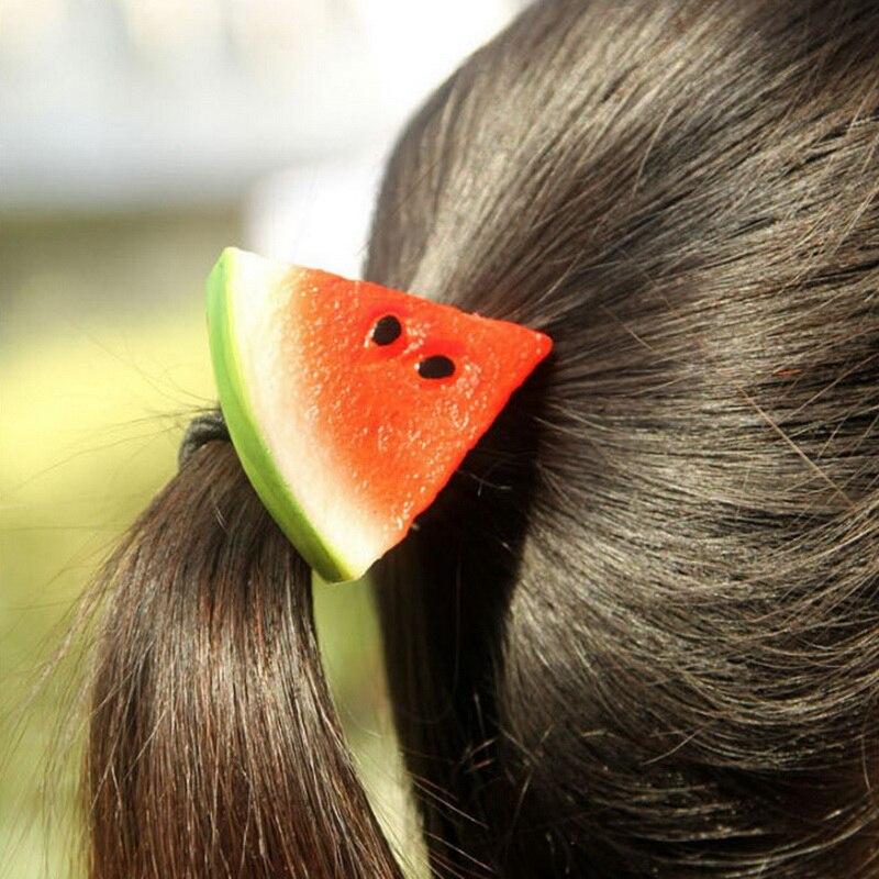 New Hot Sale Korean Harajuku Simulation Apple Watermelon Fruit Piece Elastic Hair Ring Girl Rubber Band Hair Accessories