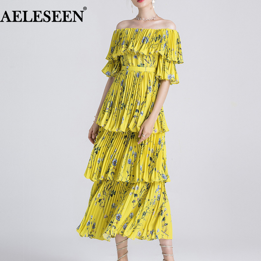 AELESEEN Bohemain Flare Cascading Dresses Fashion New Slash Neck  2018 Summer Floral Print Yellow Pleated Long Dress for Women