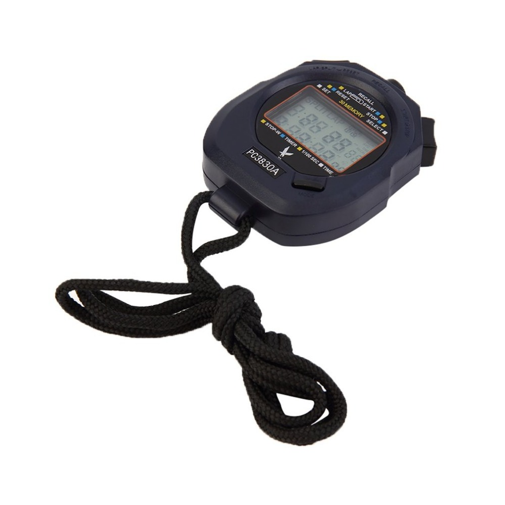 PC3830A Professional Stopwatch Large-screen Digital LCD Timer Chronograph Counter with 3 Row 30 Memories Stop Watch